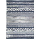 Blue & White Patterned Cotton Rug